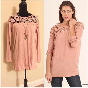 NWT peach lace top tunic